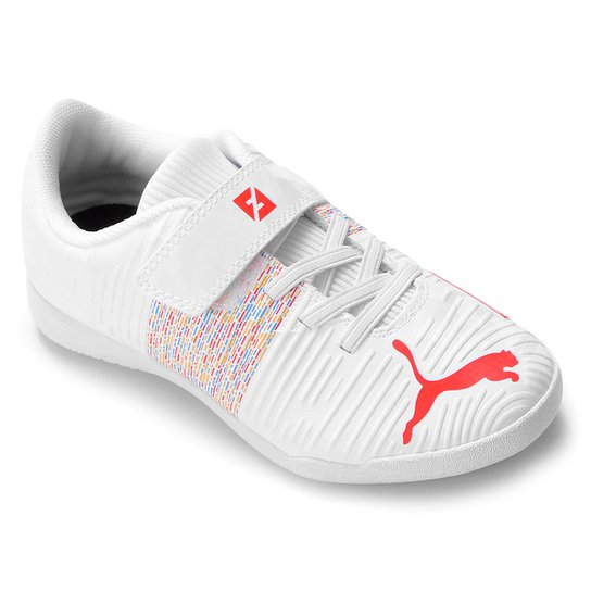 Chuteira Futsal Infantil Puma Future Z 4.1 V - Branco+Vermelho