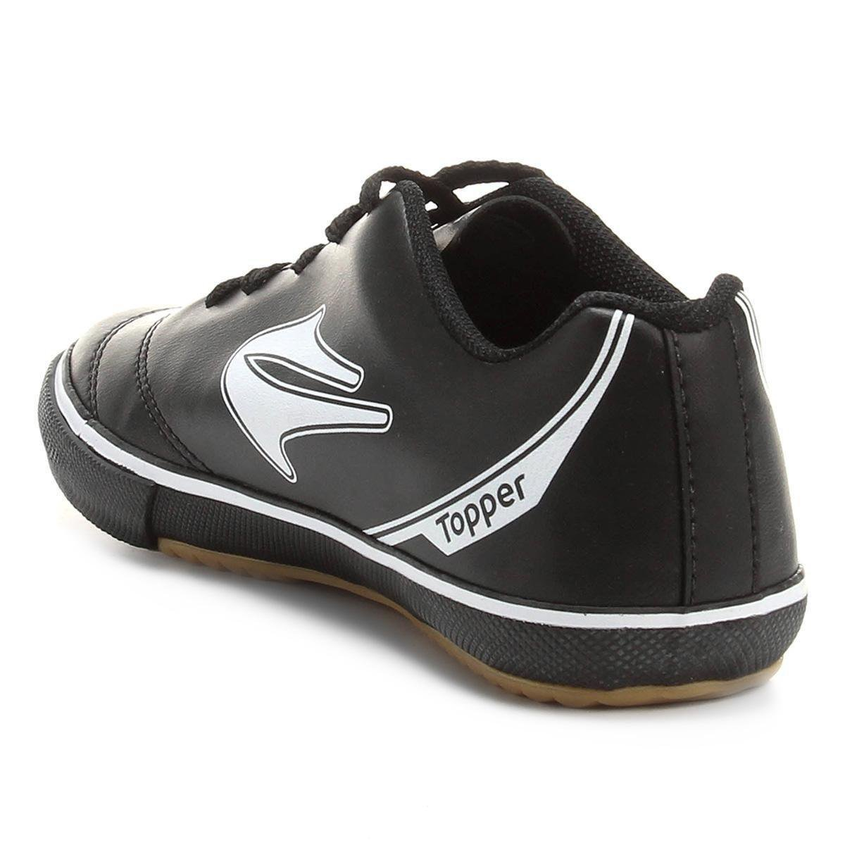 Chuteira Futsal Infantil Topper Boleiro - Preto e Branco - Compre ... 9819d26231839
