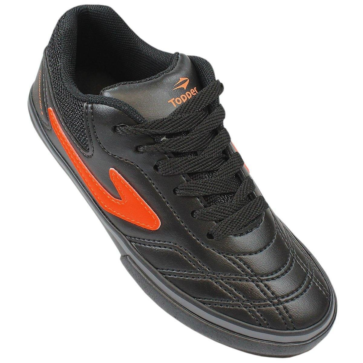 09648cfd24 Chuteira Futsal Infantil Topper Dominator 3 - Preto e Laranja ...