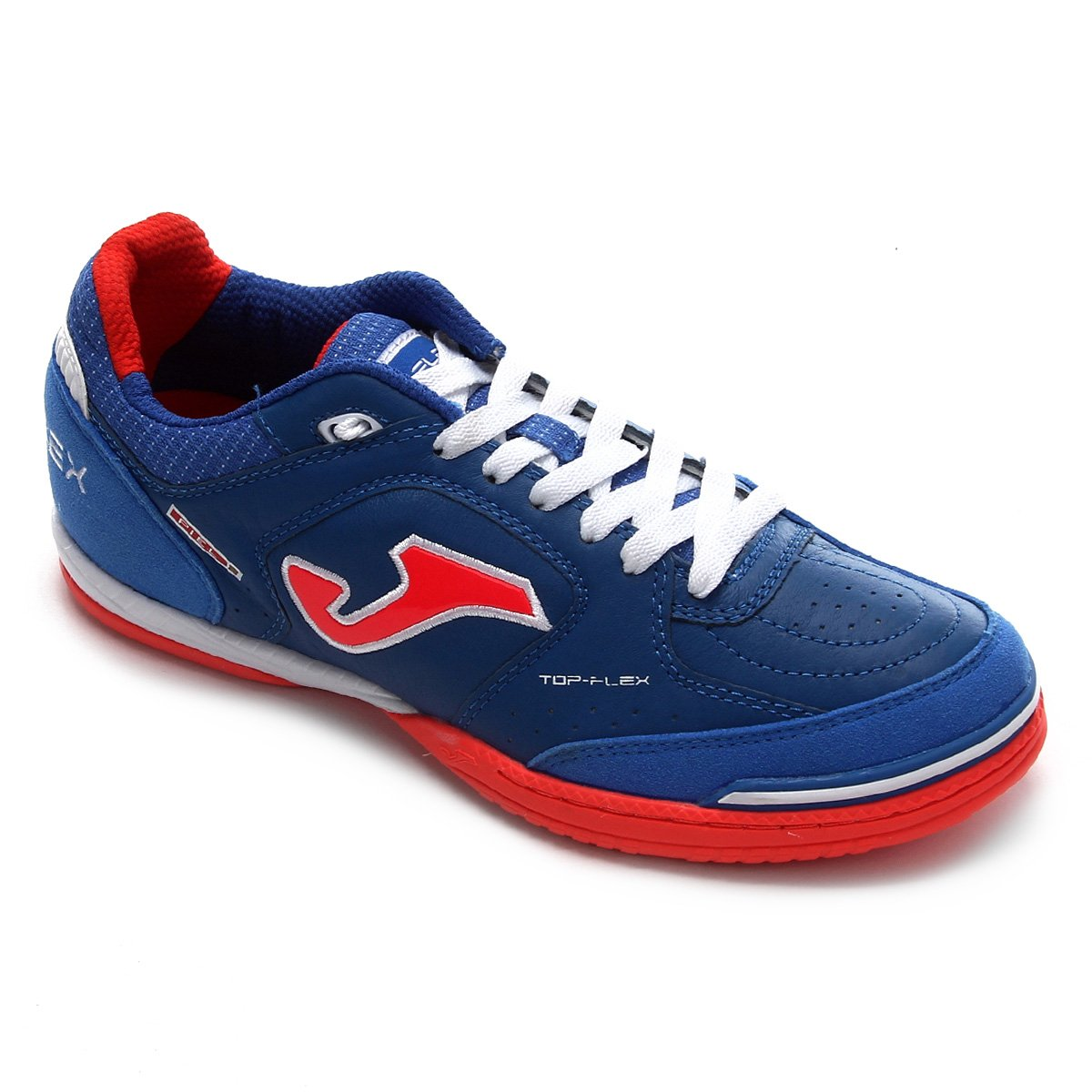 chuteira futsal joma top flex masculino - vermelho azul oro