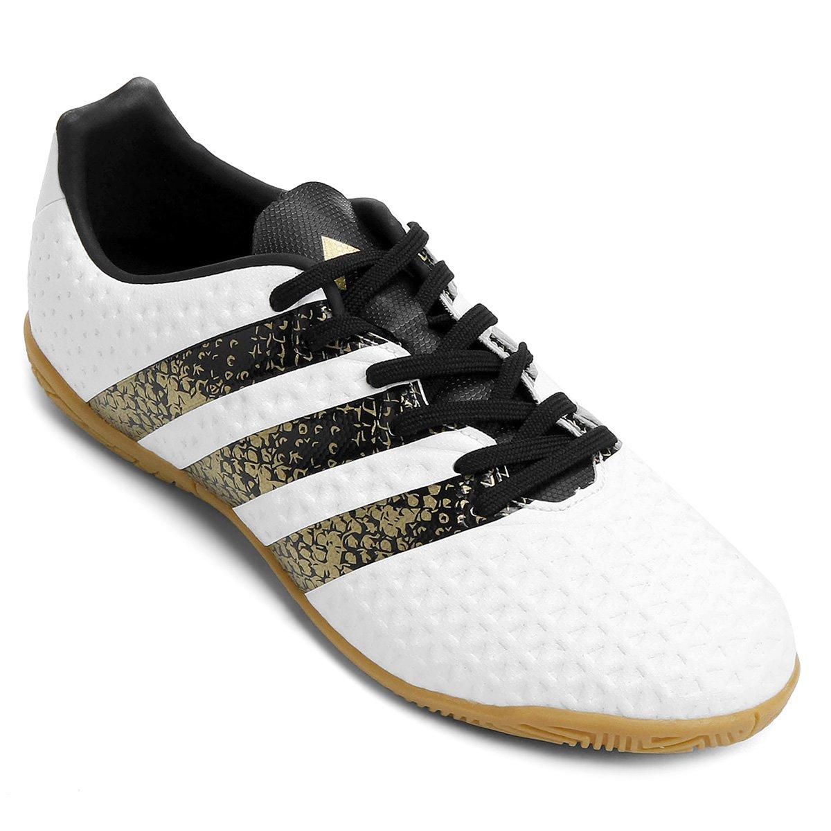 ... Chuteira Futsal Juvenil Adidas Ace 16.4 IN - Branco e Preto - Compre . 88f4475e3ec11