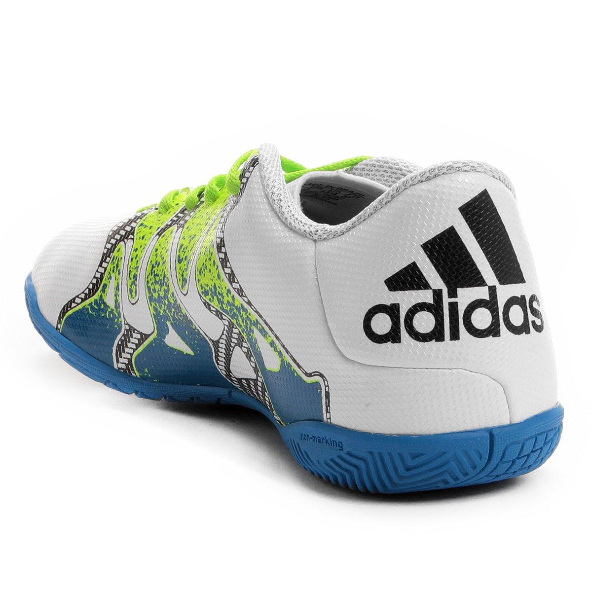 Chuteira Futsal Juvenil Adidas X 15.4 IN - Branco e Verde - Compre ... 446cdd42401b5