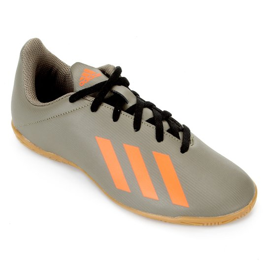 Chuteira Futsal Juvenil Adidas X 19 4 IN - Verde+laranja