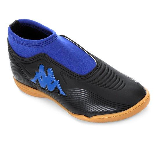 Chuteira Futsal Kappa Revolution - Preto+Azul