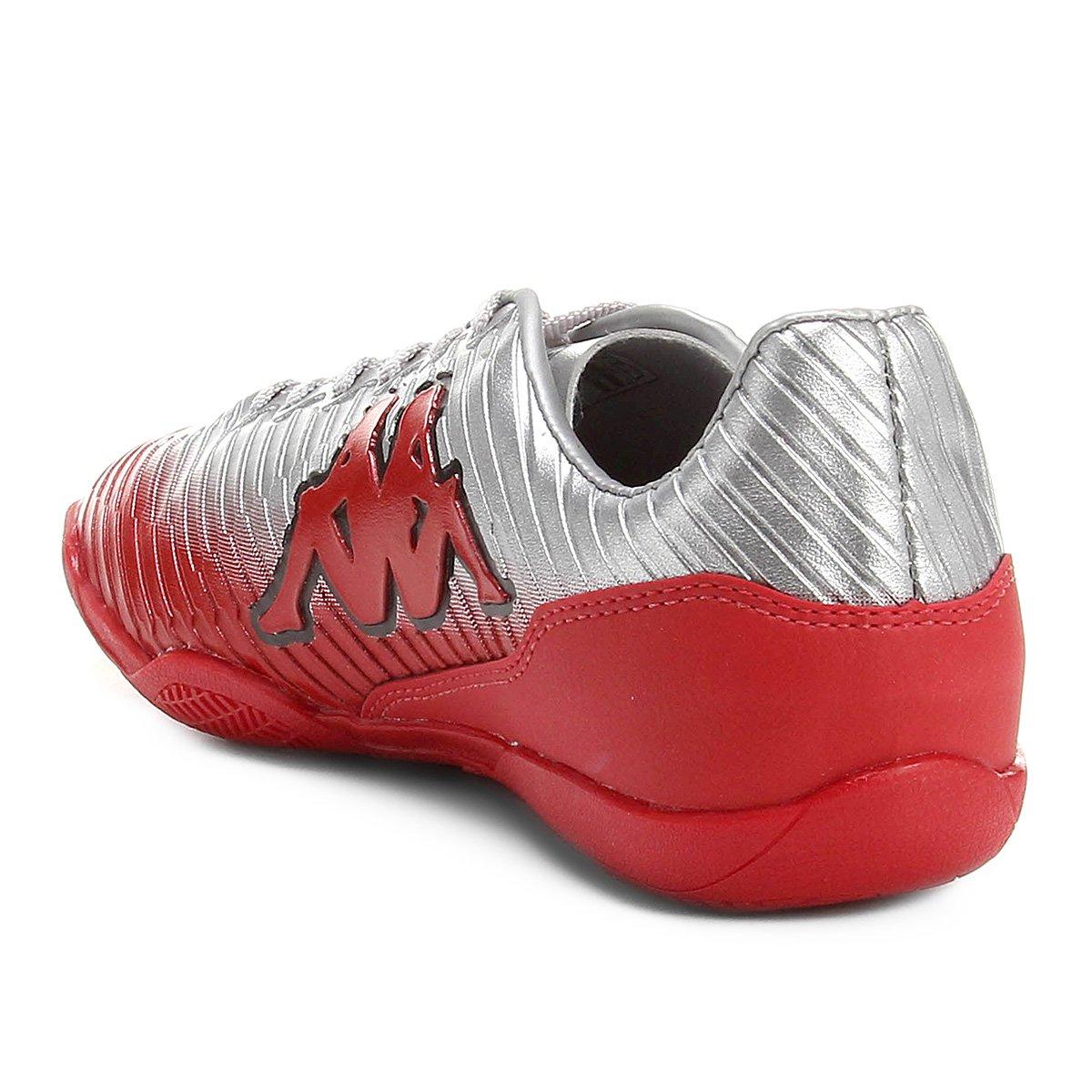 8bb38a114e Chuteira Futsal Kappa Tibre - Cinza e Vermelho - Compre Agora