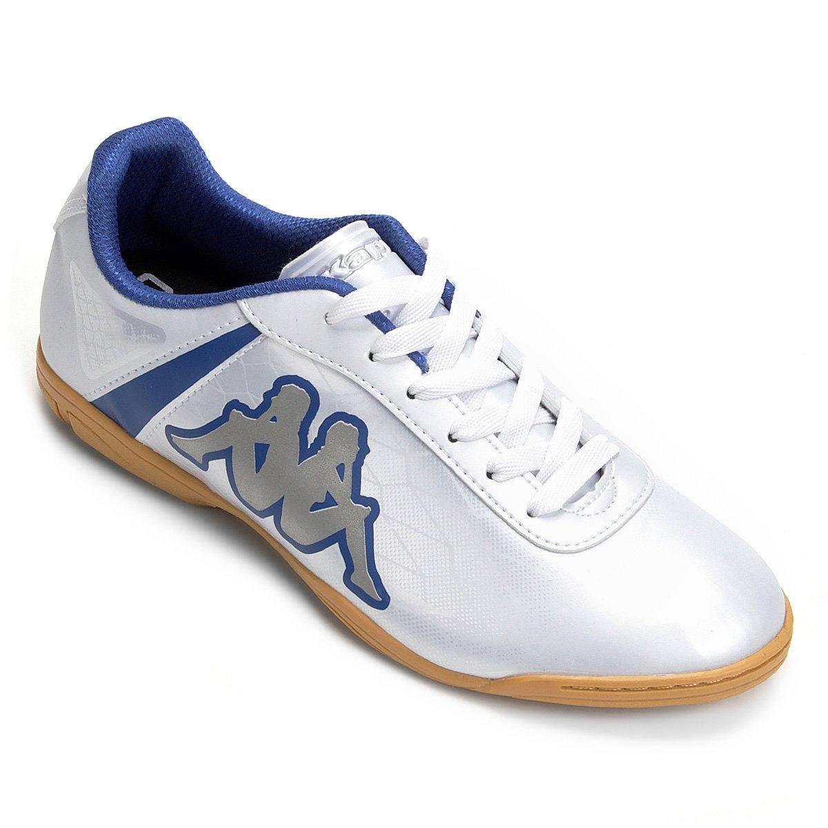 0f3cbd8186 Chuteira Futsal Kappa Torpedo - Branco e Azul - Compre Agora