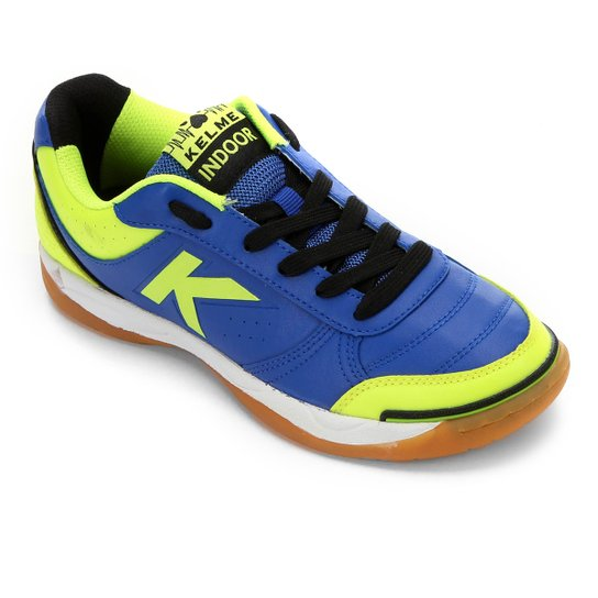 Chuteira Futsal Kelme K-Stronge - Marinho+Verde Limão