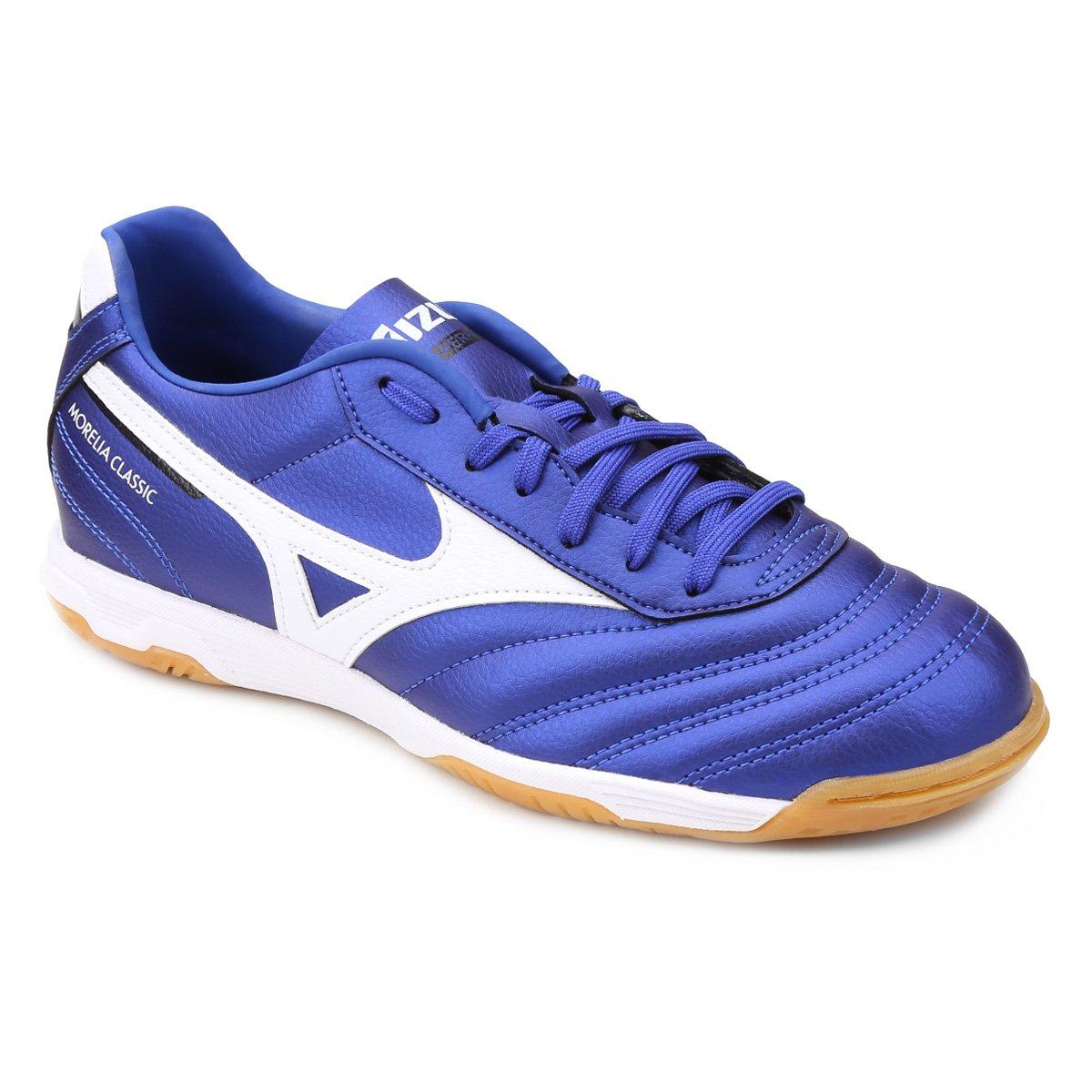 bc332c8ed3279 Chuteira Futsal Mizuno Morelia Classic IN P - Azul e Preto   Netshoes;