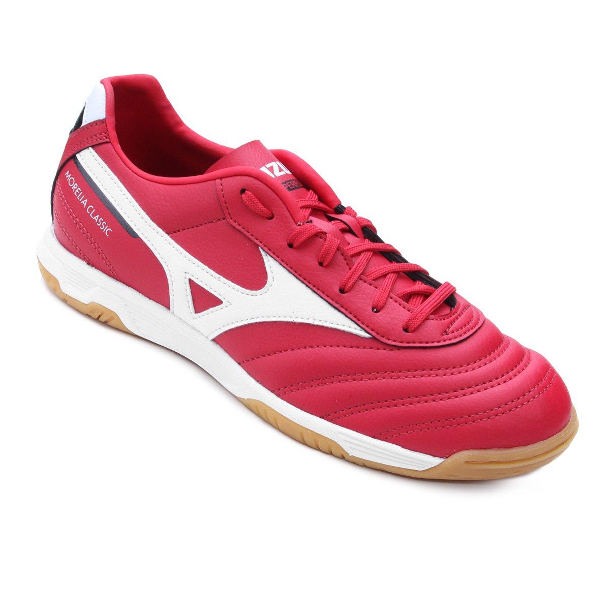 237a668f65637 Chuteira Futsal Mizuno Morelia Classic IN P - Vermelho e Branco - Compre  Agora