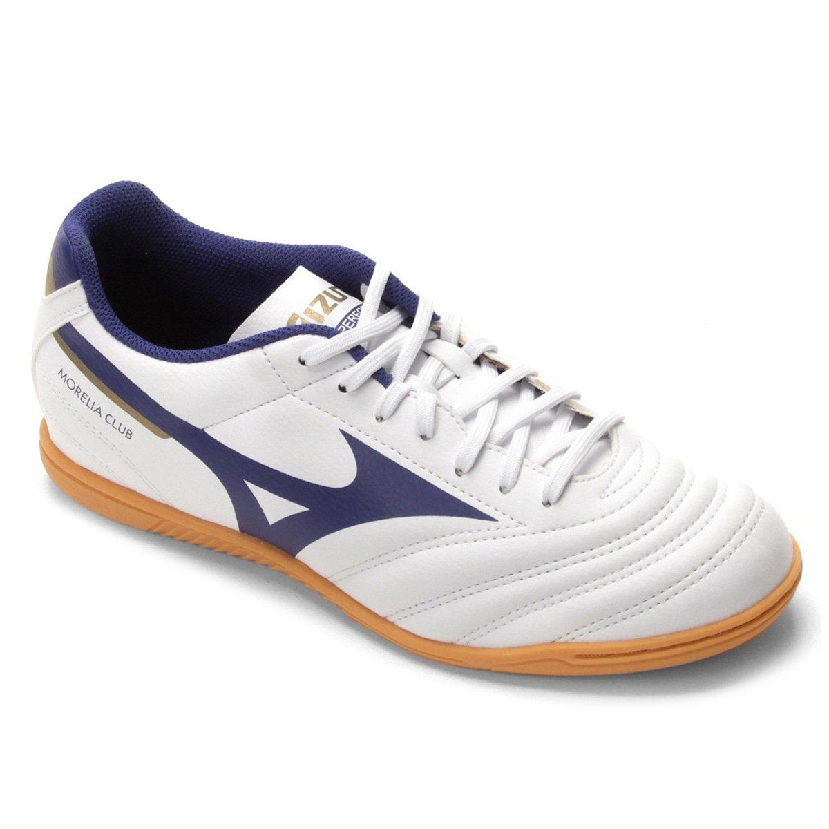 chuteira futsal mizuno morelia club in n masculina - azul e branco