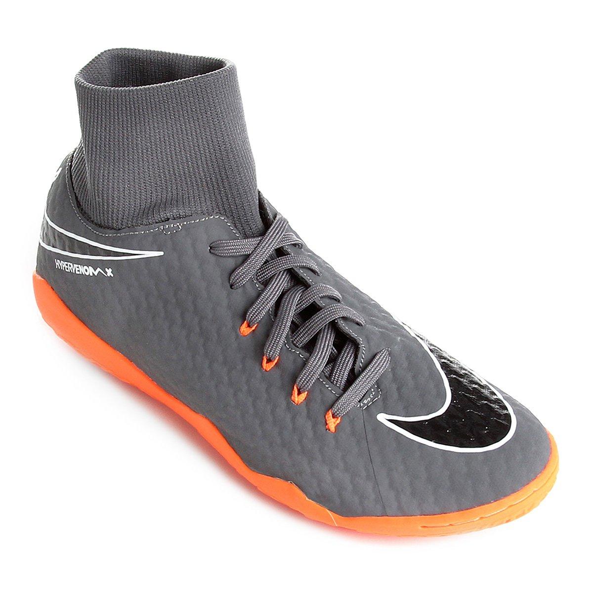10cbe055d43d1 Chuteira Futsal Nike Hypervenom Phantom 3 Academy DF IC - Cinza e Laranja -  Compre Agora