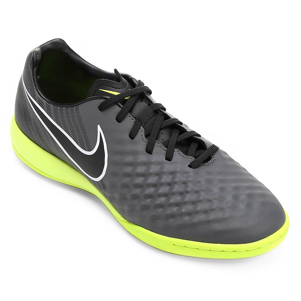 Chuteira Futsal Nike Magista Onda II IC Masculina - Chumbo e Verde ... 0848f39229f6a
