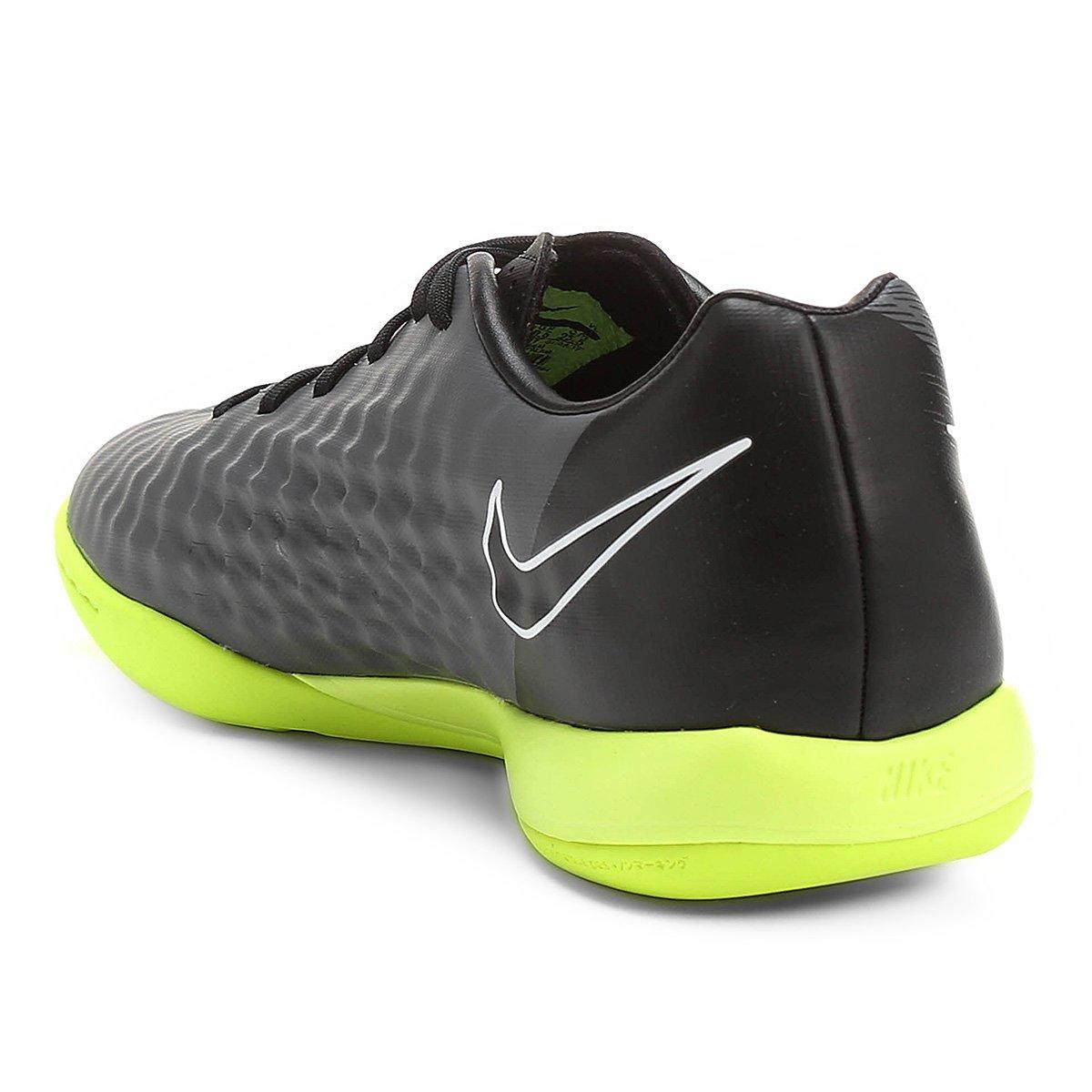 Chuteira Futsal Nike Magista Onda II IC Masculina - Chumbo e Verde ... 7514127a1a986
