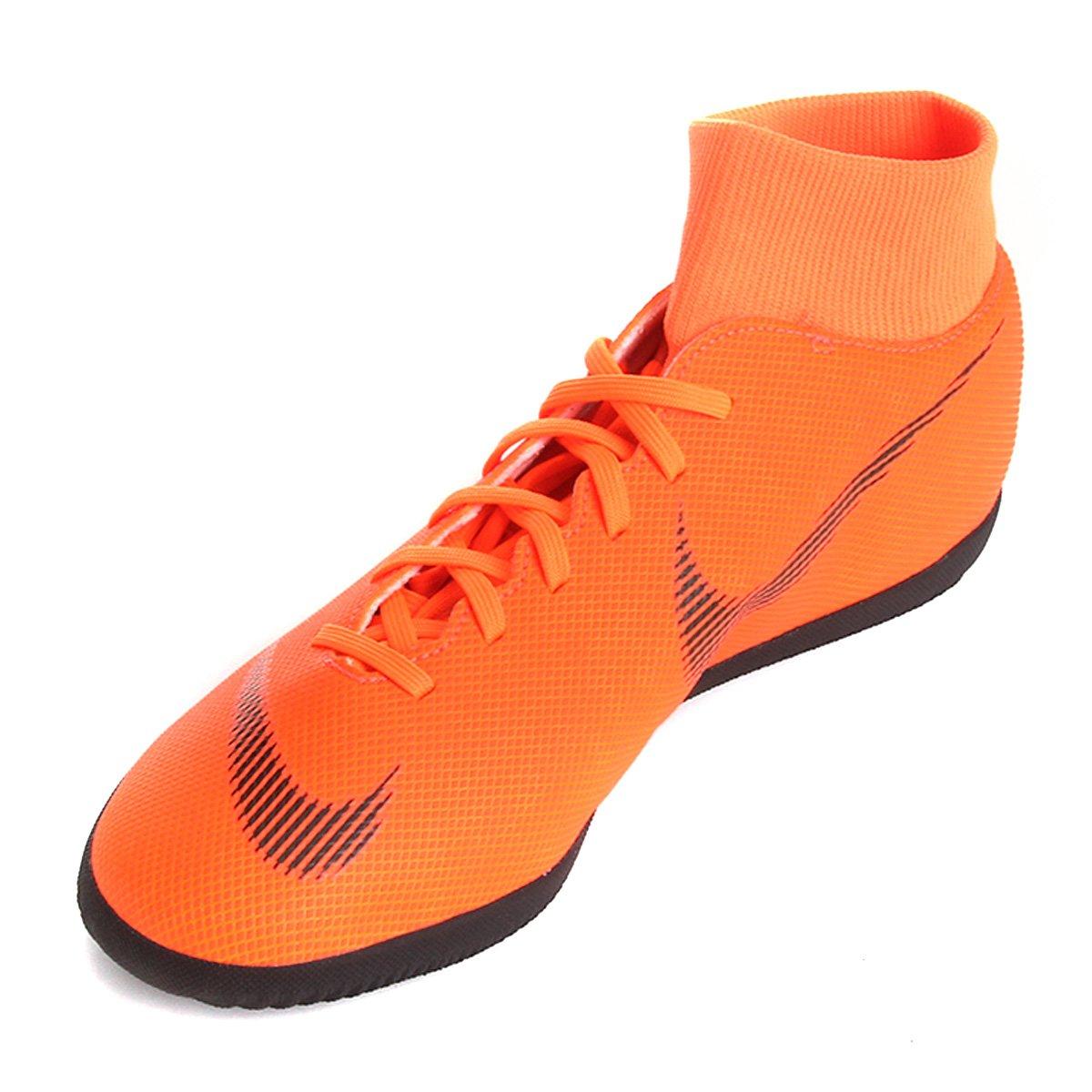 Chuteira Futsal Nike Mercurial Superfly 6 Club - Laranja e Preto ... a272e53f61053
