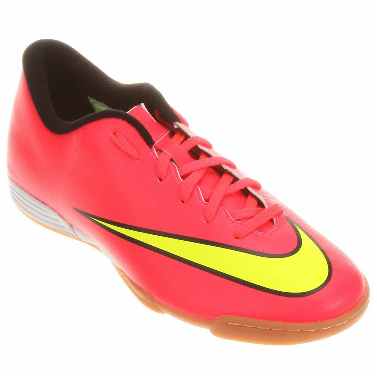 d0055ff746c5f clearance o produto chuteira futsal nike mercurial vortex 2 ic masculina  rosa e amarelo acabou.