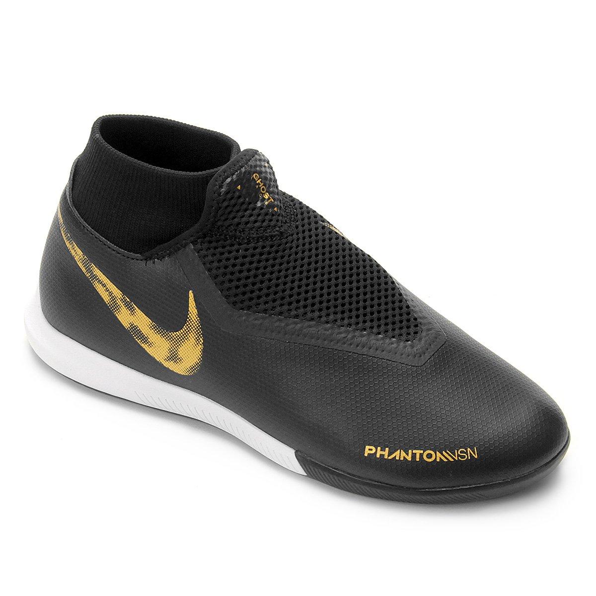 mejor comparar el precio linda Chuteira Futsal Nike Phantom Vision Academy DF IC - Preto e Dourado