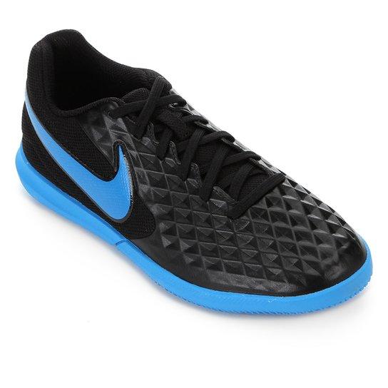 Chuteira Futsal Nike Tiempo Legend 8 Club - Preto+Azul