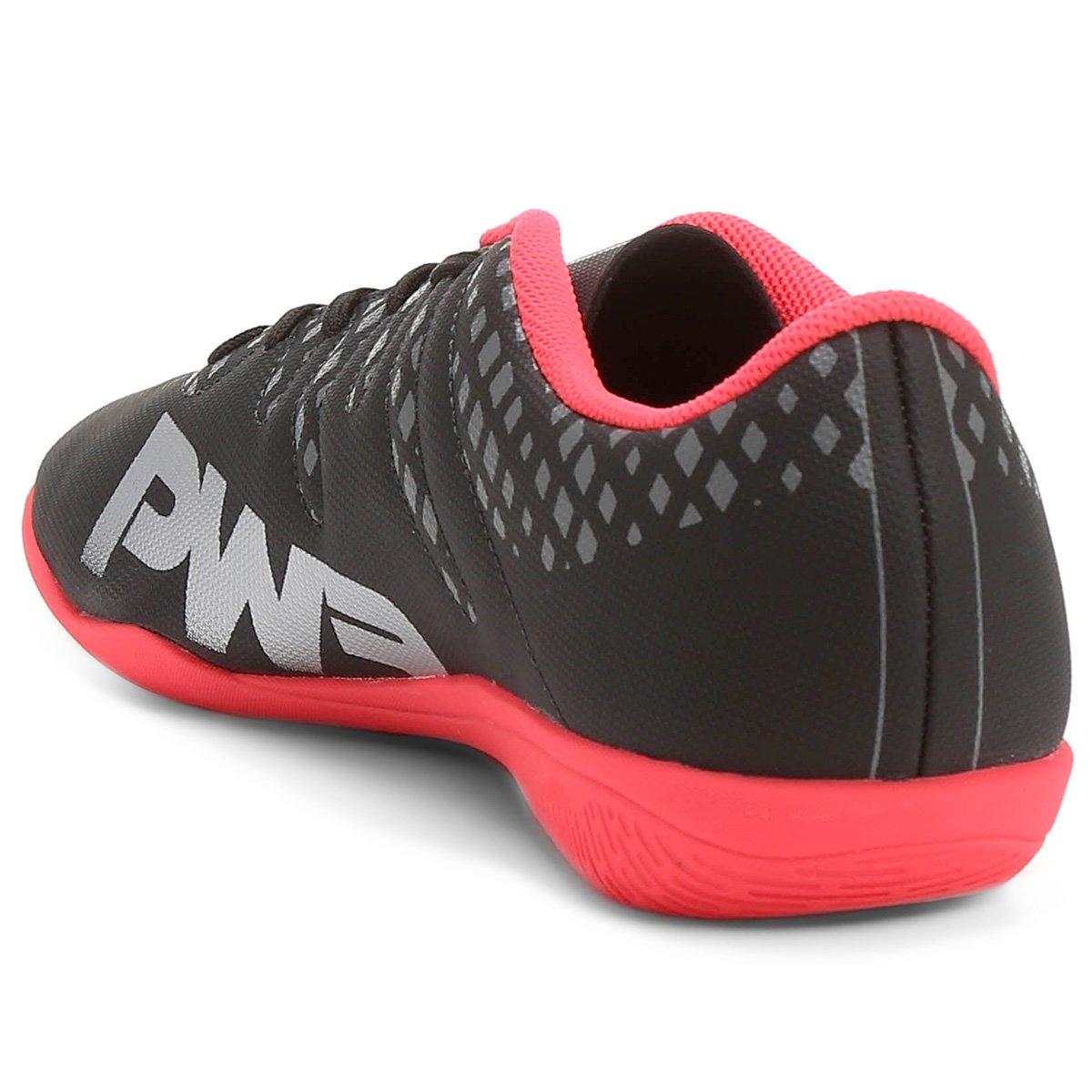 Chuteira Futsal Puma Evopower Vigor 4 IT Masculina - Preto e Prata ... d435ec2539a28