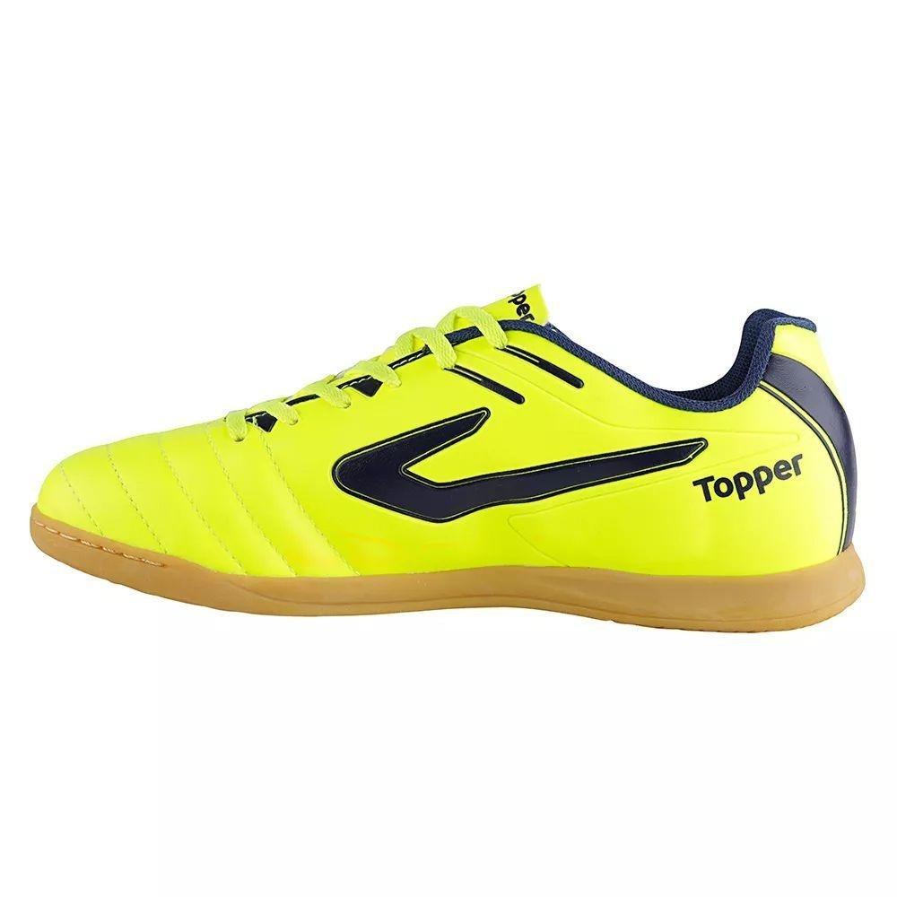 Chuteira Futsal Topper Boleiro Infantil - Amarelo e Marinho - Compre ... 1e9dd6c89c249