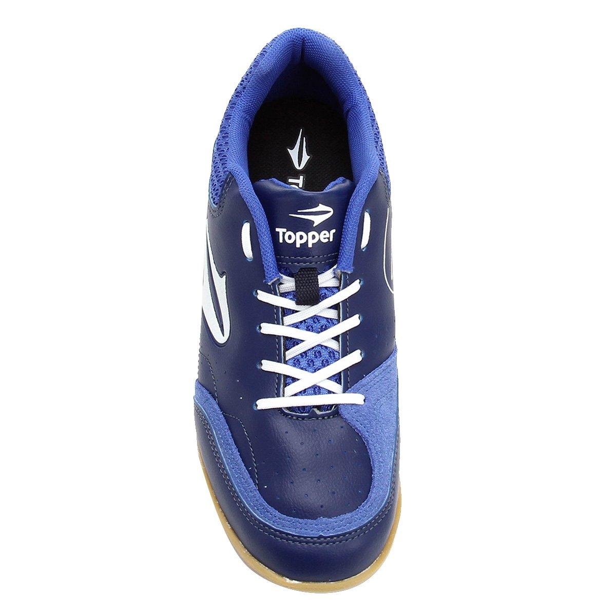 Chuteira Futsal Topper Maestro - Azul e Branco - Compre Agora  1dca58d72708e