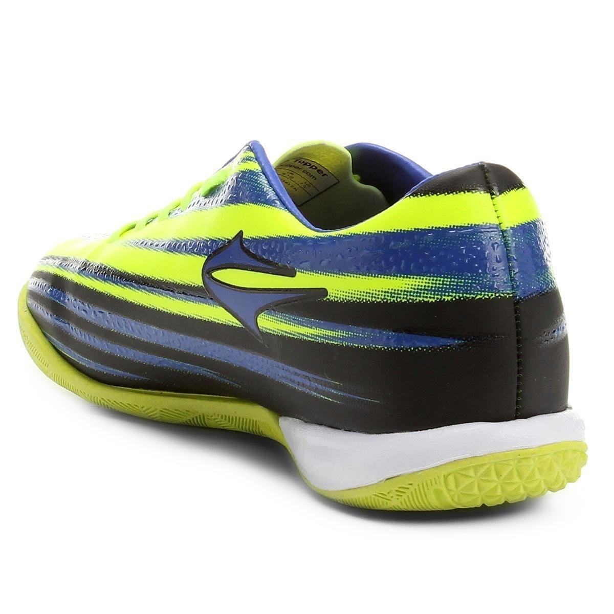 Chuteira Futsal Topper Vector 2 - Preto e Azul - Compre Agora  435970f0fa15c
