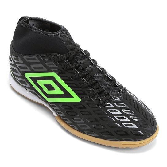 Chuteira Futsal Umbro Calibra - Preto+Verde Claro