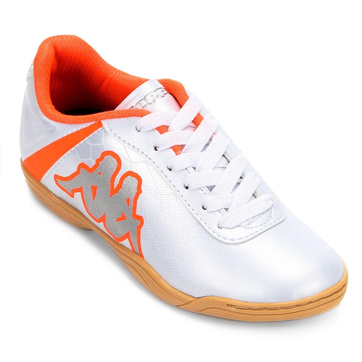 Chuteira Infantil Futsal Kappa Torpedo - Branco e Laranja - Compre ... bb79ff47a9e44