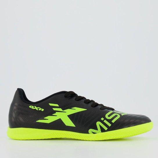 Chuteira Oxn Mission 2 Futsal Juvenil - Preto+Verde Limão