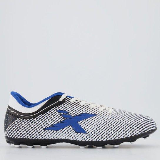 Chuteira Oxn Trainer Society Branca - Branco+Azul