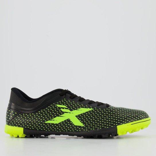 Chuteira Oxn Trainer Society - Preto+Verde Limão