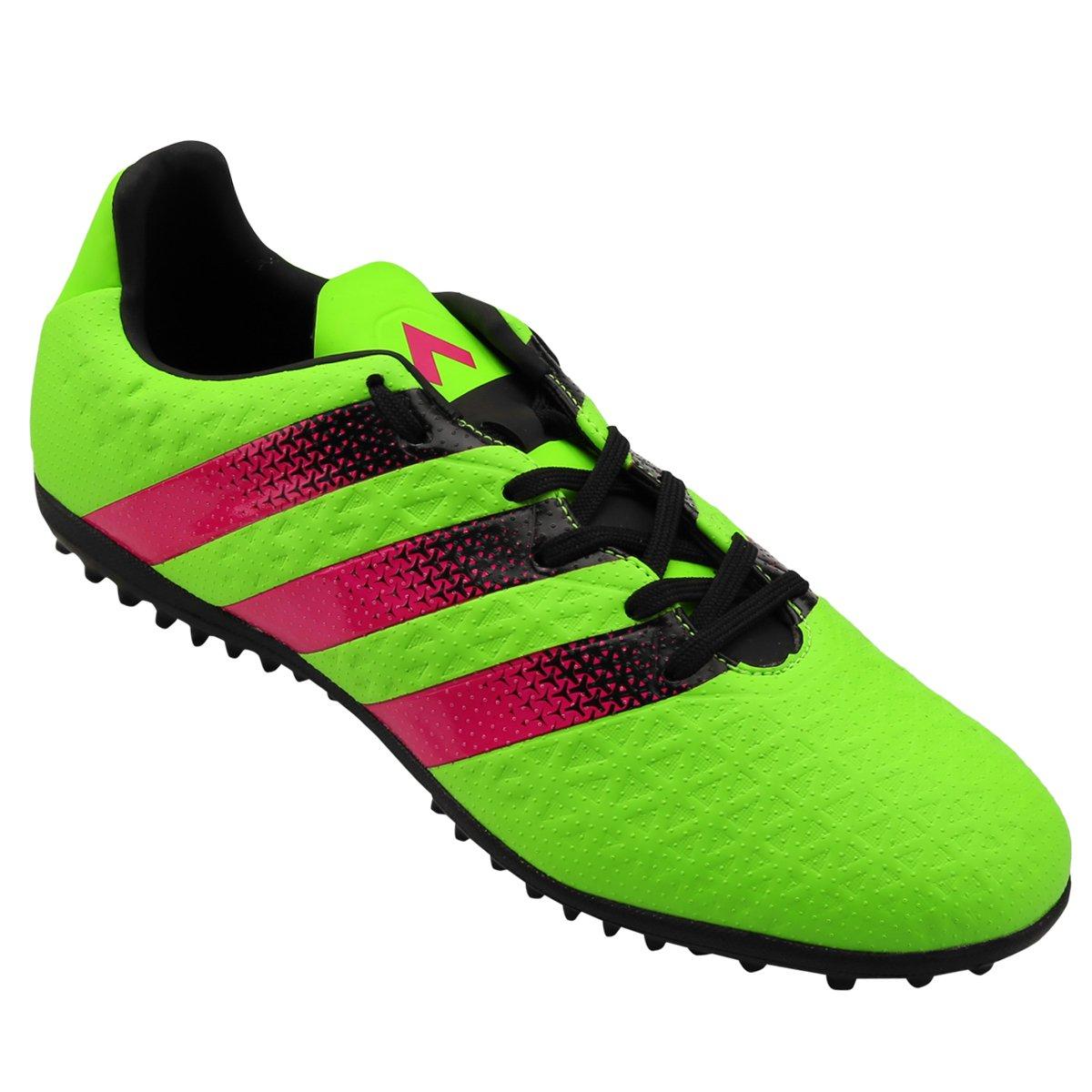 02bf4a1457 Chuteira Society Adidas Ace 16.3 TF Masculina - Verde Claro e Pink ...