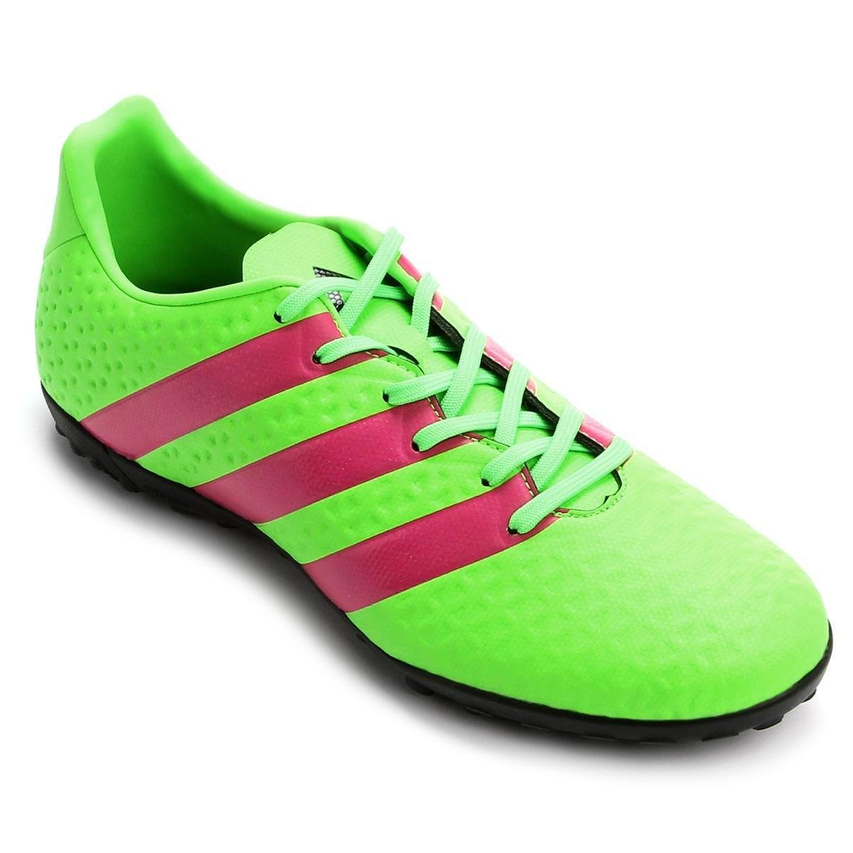 1b866823bc Chuteira Society Adidas Ace 16.4 TF Masculina - Verde Limão e Pink ...