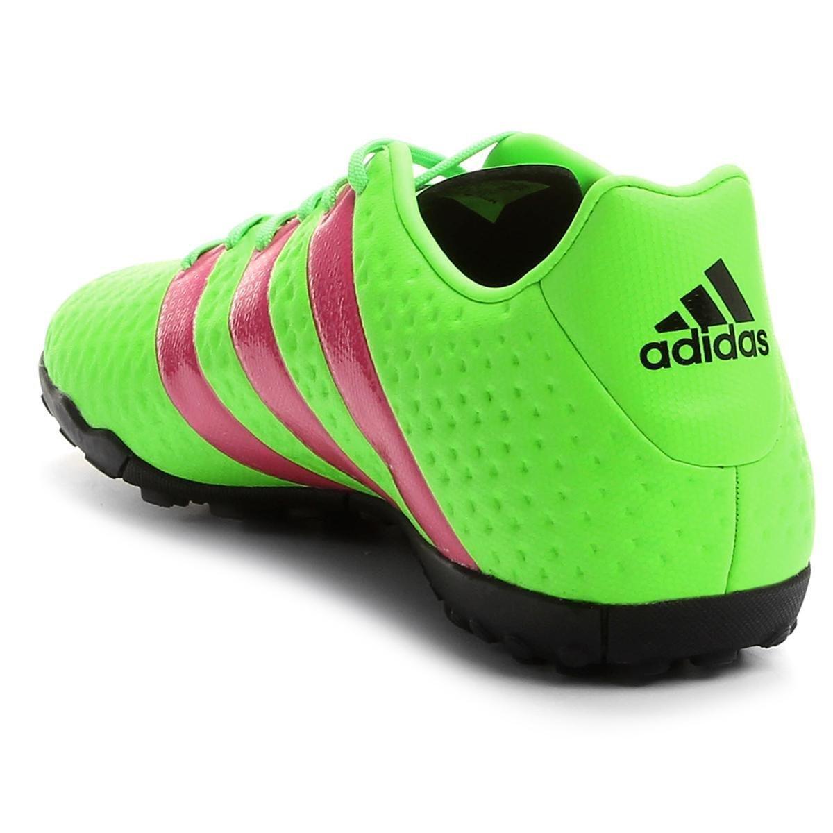a441f69649 Chuteira Society Adidas Ace 16.4 TF Masculina - Verde Limão e Pink ...
