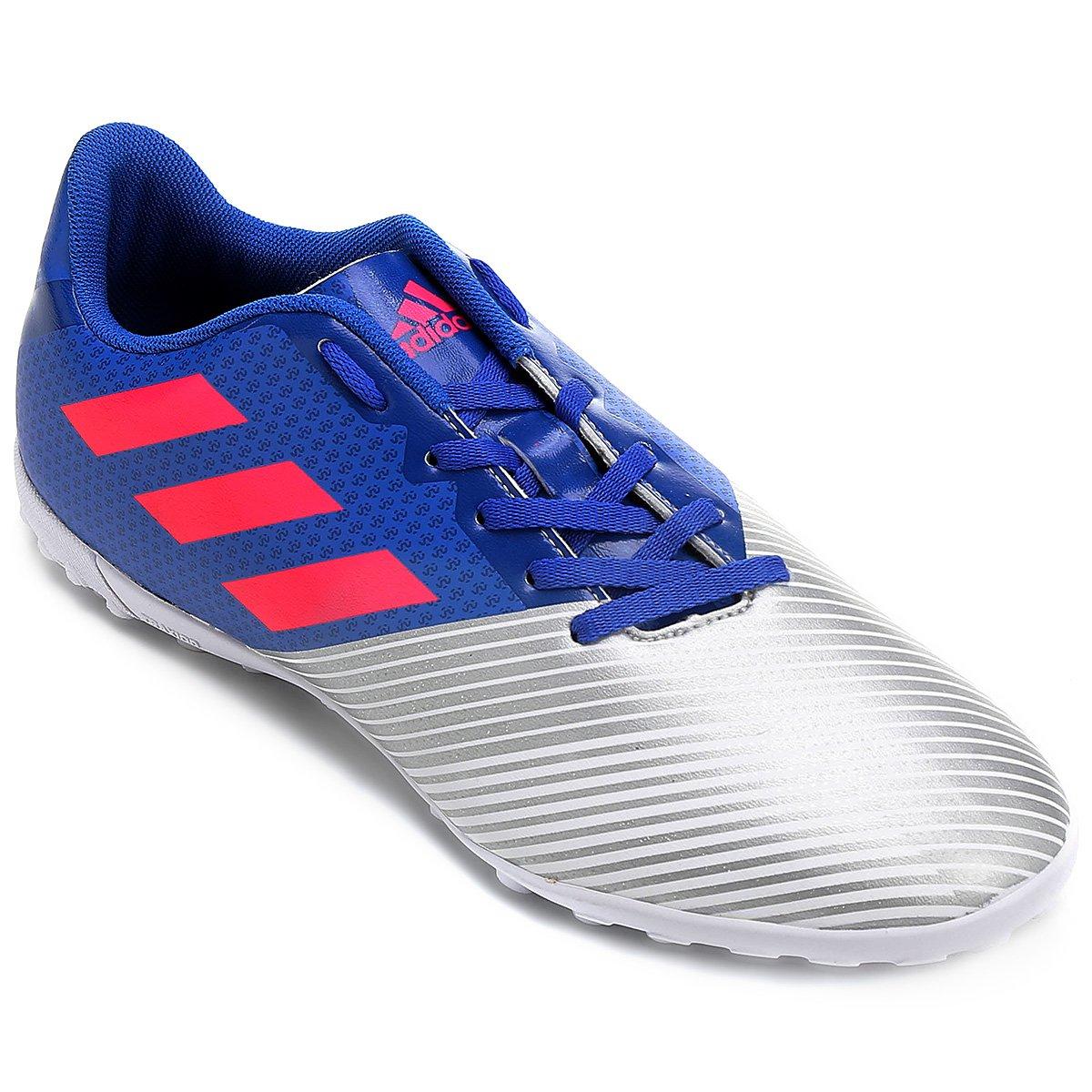 Chuteira Society Adidas Artilheira 17 TF - Azul e Prata - Compre ... 73e2ab8c7930c