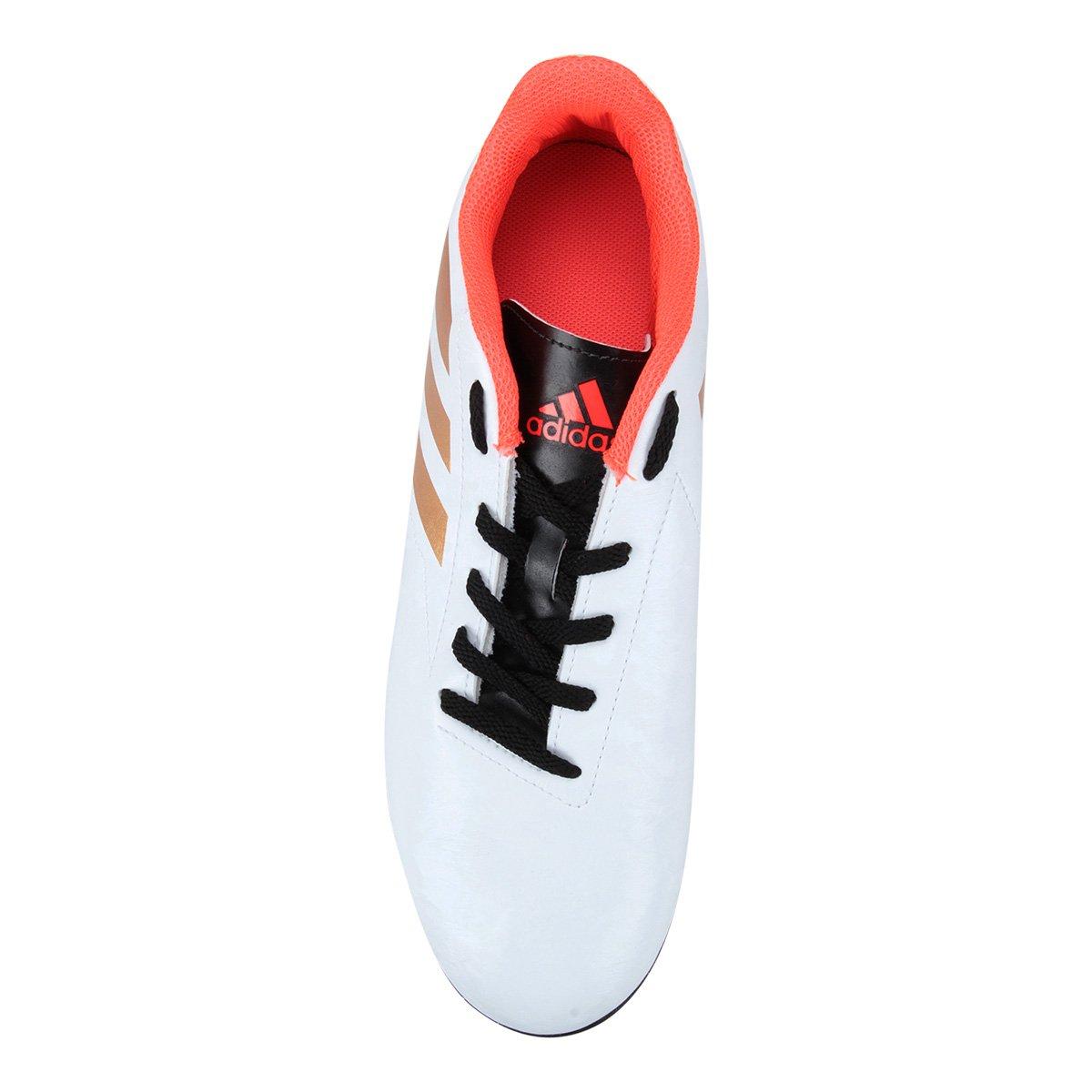 Chuteira Society Adidas Conquisto II TF - Branco e Laranja - Compre ... 3d4e58e653b6b