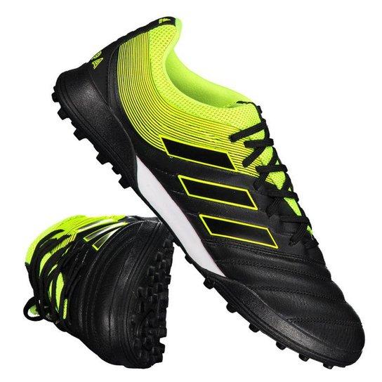 Chuteira Society Adidas Copa 19 3 TF - Preto+Amarelo