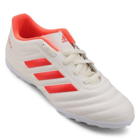 Chuteira Society Adidas Copa 19 4 TF - Branco+Vermelho