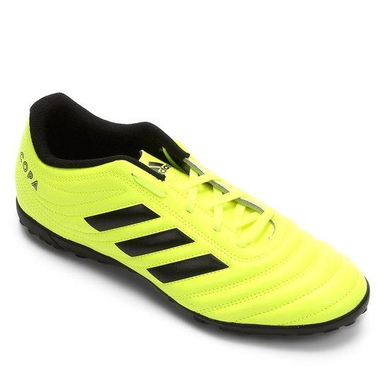 Chuteira Society Adidas Copa 19 4 TF - Verde Limão+Preto