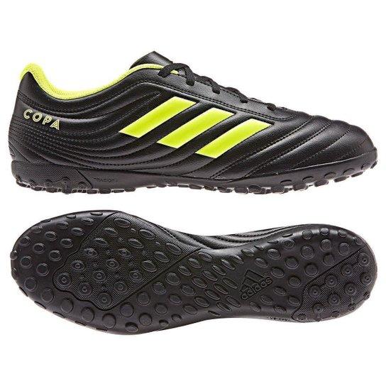 Chuteira Society Adidas Copa 19 4 TF - Preto+Amarelo