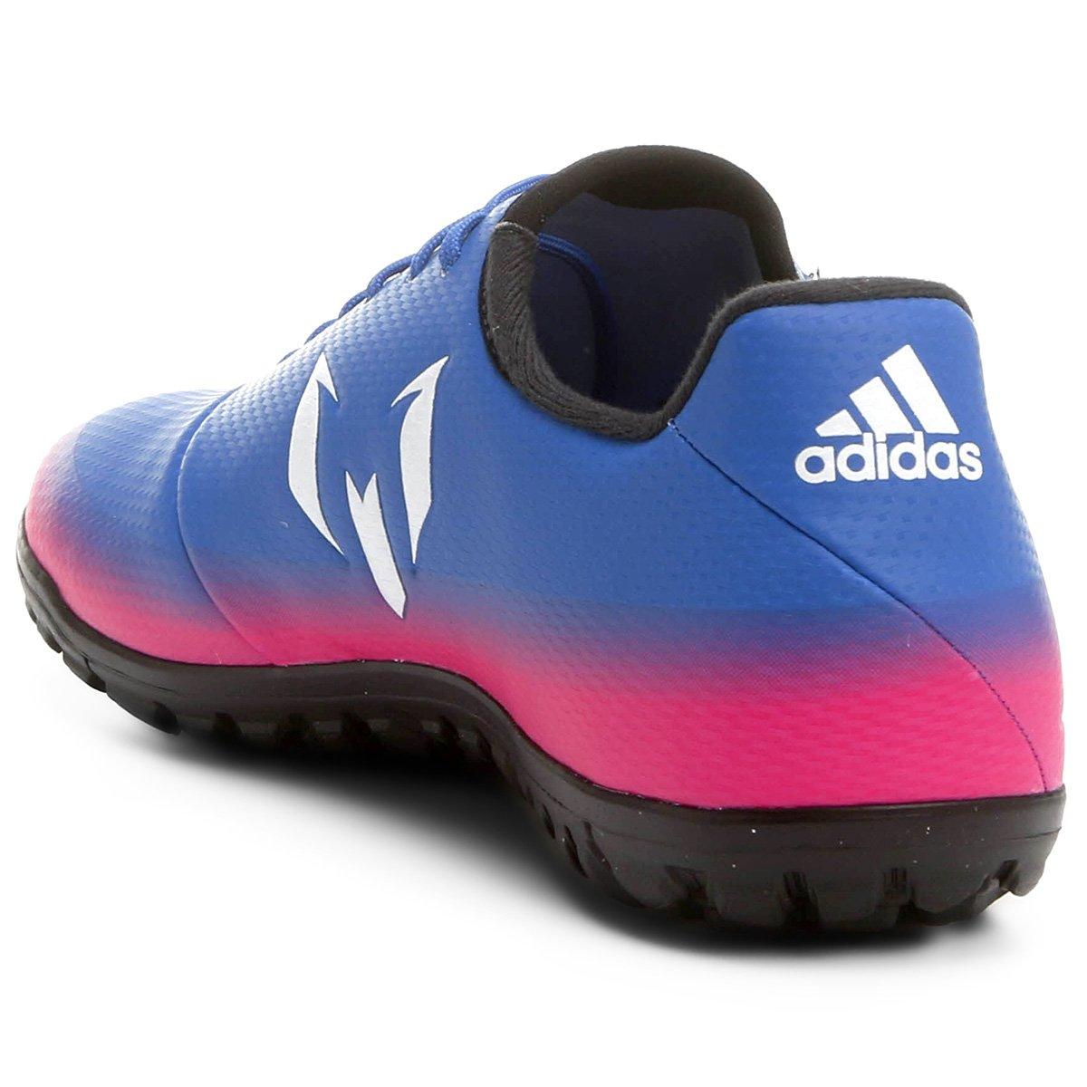 Chuteira Society Adidas Messi 16.3 TF - Azul e Pink - Compre Agora ... 915855c17477a
