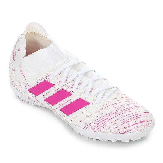 Chuteira Society Adidas Nemeziz 18 3 TF - Branco+Pink