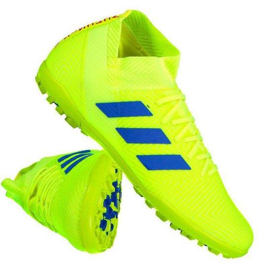 Chuteira Society Adidas Nemeziz 18 3 TF - Amarelo+Azul