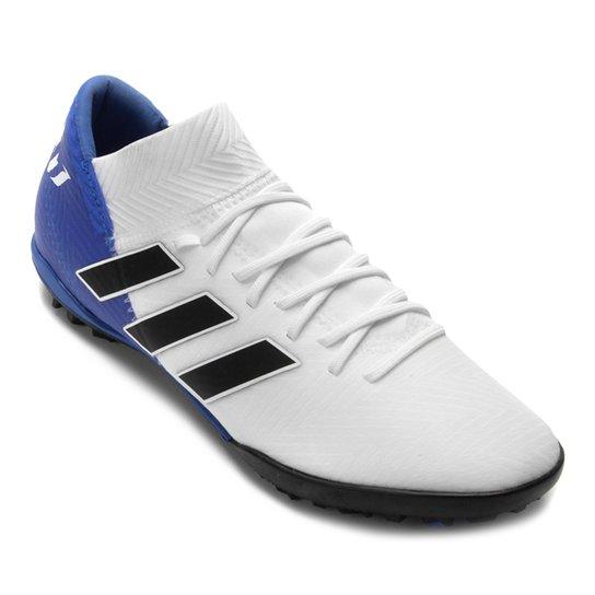 Chuteira Society Adidas Nemeziz Messi Tan 18 3 TF - Branco+Preto