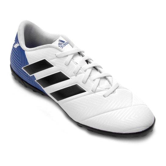 Chuteira Society Adidas Nemeziz Messi Tan 18 4 TF - Branco+Preto