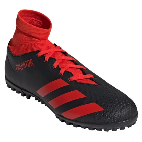Chuteira Society Adidas Predator 20 4 S TF - Preto+Vermelho