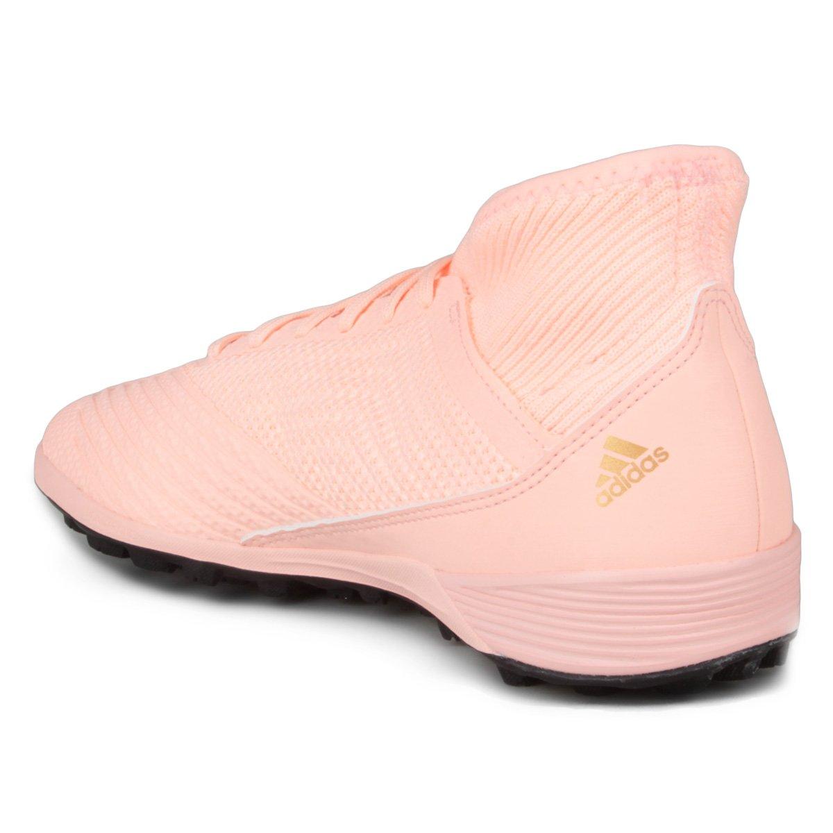 Chuteira Society Adidas Predator TAN 18 3 TF - Rosa e Preto - Compre ... ac3aa93f88676