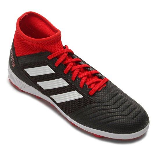 Chuteira Society Adidas Predator TAN 18 3 TF - Preto+Vermelho