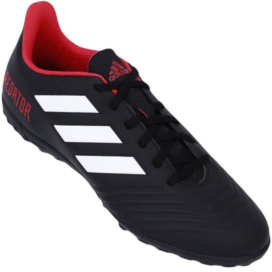 Chuteira Society Adidas Predator Tan 18 4 TF - Preto+Branco