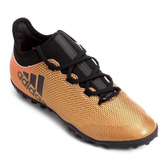 Chuteira Society Adidas X 17 3 TF - Dourado
