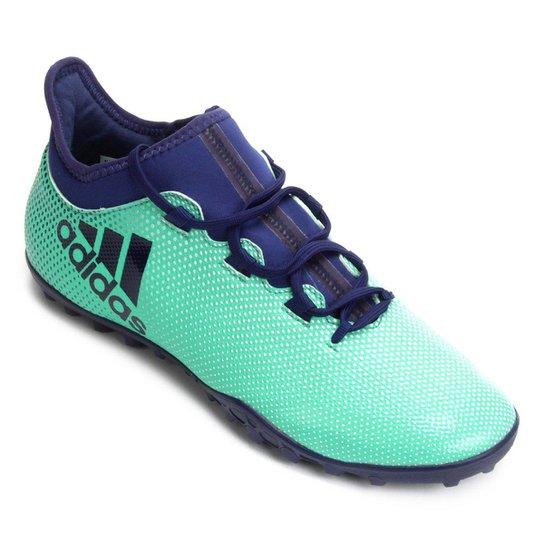 Chuteira Society Adidas X 17.3 TF - Azul+Verde Água
